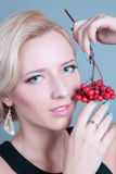 Fashion girl with red berries Stock Photos