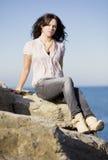Fashion girl in the sea Stock Image