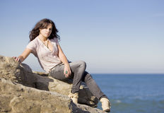Fashion girl in the sea Stock Image