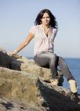 Fashion sexy girl in the sea Stock Photos