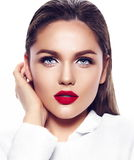 Fashion sexy model girl in white coat with red lips Stock Photo