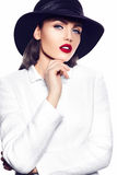 Fashion sexy model girl in white coat with red lips Stock Photos