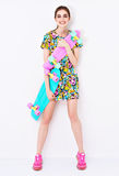 Fashion sexy vogue model in colorful dress with Stock Images