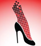Fashion shoe. Sexy highheel shoe with rhinestones and fishnet stocking Stock Images
