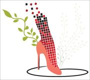 Fashion shoe 2. Sexy highheel shoe with fishnet stocking and foliage Royalty Free Stock Image