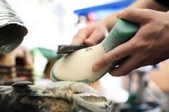 Fashion and shoe design, shoemaking workshop Stock Image