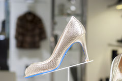 Fashion shoe. Display mall retail shopping luxury gift window showroom Stock Photos