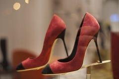 Fashion shoe showcase display shopping retail. Fashion luxury showcase display shopping retail royalty free stock photo