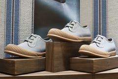 Fashion shoe showcase display shopping retail. Fashion luxury showcase display shopping retail mlothing stock photos
