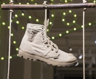 Fashion shoe showcase display shopping retail. Fashion showcase display shopping retail mlothing stock photos