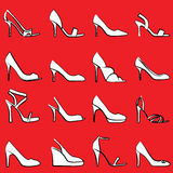 Fashion shoes. Illustration of sixteen different shoes royalty free illustration
