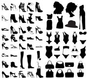 Fashion shoes, bags, swim suit silhouette set Stock Image
