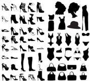 Fashion shoes, bags, swim suit silhouette set Stock Image