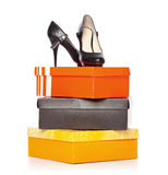 Fashion shoes on the boxes Royalty Free Stock Images
