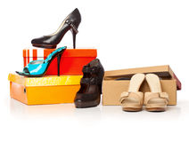 Fashion shoes on the boxes Royalty Free Stock Photography