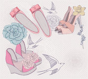 Fashion shoes, flowers and birds background Royalty Free Stock Photography