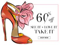 Fashion shoes sale banner, online shopping social media ads web template with beautiful heels. Vector illustration vector illustration