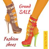 Fashion shoes. Sale leaflet. Pair of women's fashion shoes, sandals on heel and platform. Trendy shoes. Sale leaflet, banner. Vector Stock Photos