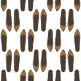 Fashion shoes seamless pattern with leopard print. Stock Image