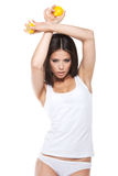 Fashion shoot of Asian woman in white underwear. Stock Photo