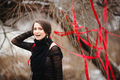 Fashion shoot of beautiful girl in the winter forest Royalty Free Stock Photo