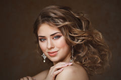Fashion shoot of beautiful woman. Retro style stock image