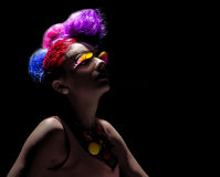 Fashion Shoot. Female model posing with distinctive hairstyle stock image