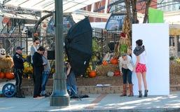 A fashion shoot takes place on the streets of Atlanta Royalty Free Stock Photos