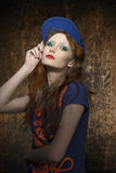 Fashion shoot of urban style woman royalty free stock photo