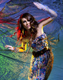 Fashion shoot of a young brunette Caucasian woman Royalty Free Stock Images