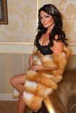 Fashion shoot of young brunette woman wearing sexy black lingerie and luxury fur coat posing in an interior. Royalty Free Stock Image