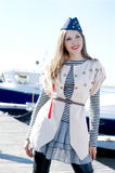 Fashion shoot of a young sailor female Royalty Free Stock Photos