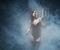 Fashion shoot of young sexy woman in lingerie Royalty Free Stock Image
