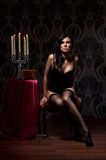 Fashion shoot of a young woman in erotic lingerie Royalty Free Stock Images