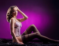 Fashion shoot of a young woman in erotic lingerie Stock Images
