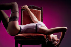 Fashion shoot of a young woman in erotic lingerie Royalty Free Stock Photo