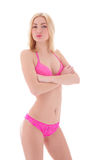 Fashion shoot of a young woman in pink lingerie Stock Images