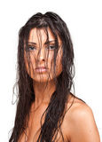 Fashion shoot of a young woman with wet hair Stock Photography