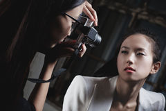 Fashion shooting. Young japan women fashion shooting Royalty Free Stock Photos