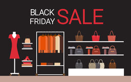 Fashion Shop Interior Big Holiday Sale Black Friday Shopping Stock Photos