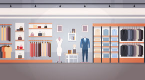 Fashion Shop Interior Clothes Store Banner With Copy Space. Flat Vector Illustration Stock Image