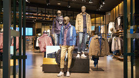 Fashion shop. Interior of men's clothing store in  in China,Asia Stock Photos