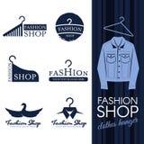 Fashion shop logo - Blue jean clothes hanger logo vector set design royalty free illustration