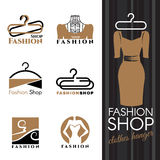 Fashion shop logo - Brown Dress and Clothes hanger vector set design Stock Image