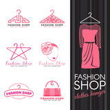 Fashion shop logo - pink clothes hanger and woman face logo vector set design Royalty Free Stock Photos