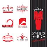 Fashion shop logo - Red clothes hanger logo sign vector set design vector illustration