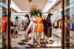 Fashion shop mannequins. View of  fashion clothing store  interior, mannequins in fashion clothing retail shop interior Stock Images