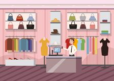 Fashion Shop Super Market Female Clothes Shopping Mall Interior Banner With Copy Space cartoon Vector Illustration. Fashion Shop Super Market Female Clothes royalty free illustration