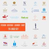 Fashion shoping simple logo collection set template vector illustration icon element. Fashion logo set mega download royalty free stock image