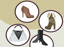 Fashion shoppin. Vector drawing of the fashion objects Stock Images